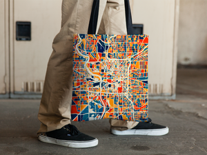 Indianapolis Map Tote Bag - Indy Map Tote Bag 15x15