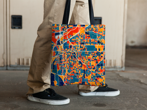 Lincoln Map Tote Bag - Nebraska Map Tote Bag 15x15