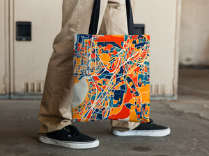 Mumbai Map Tote Bag - Bombay Map Tote Bag 15x15