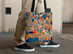 South Bend Map Tote Bag - Indiana Map Tote Bag 15x15