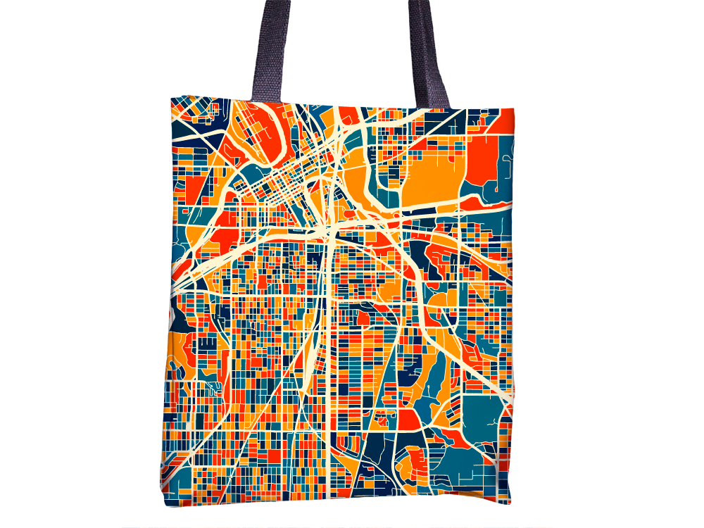 Fort Worth Map Tote Bag - Texas Map Tote Bag 15x15