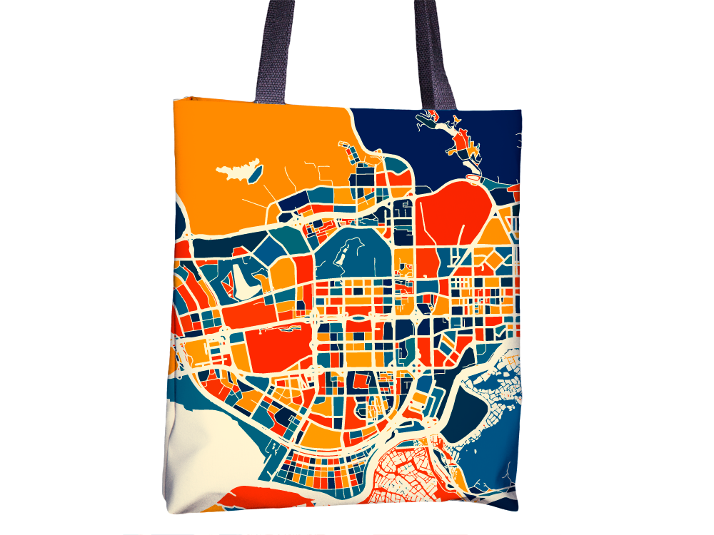 Shenzhen Map Tote Bag - China Map Tote Bag 15x15