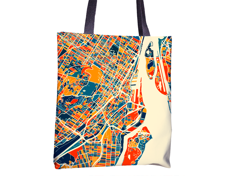 Montreal Map Tote Bag - Mtl Map Tote Bag 15x15