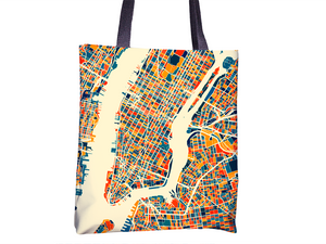 New York City Map Tote Bag - New York Map Tote Bag 15x15