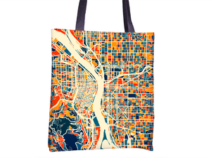 Portland Map Tote Bag - Oregon Map Tote Bag 15x15