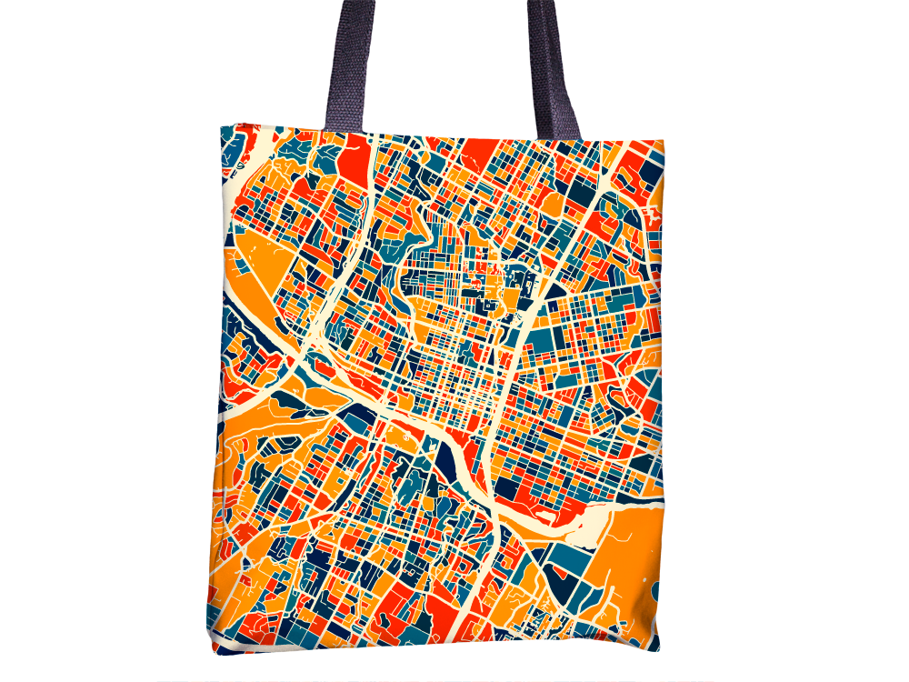 Austin Map Tote Bag - Texas Map Tote Bag 15x15