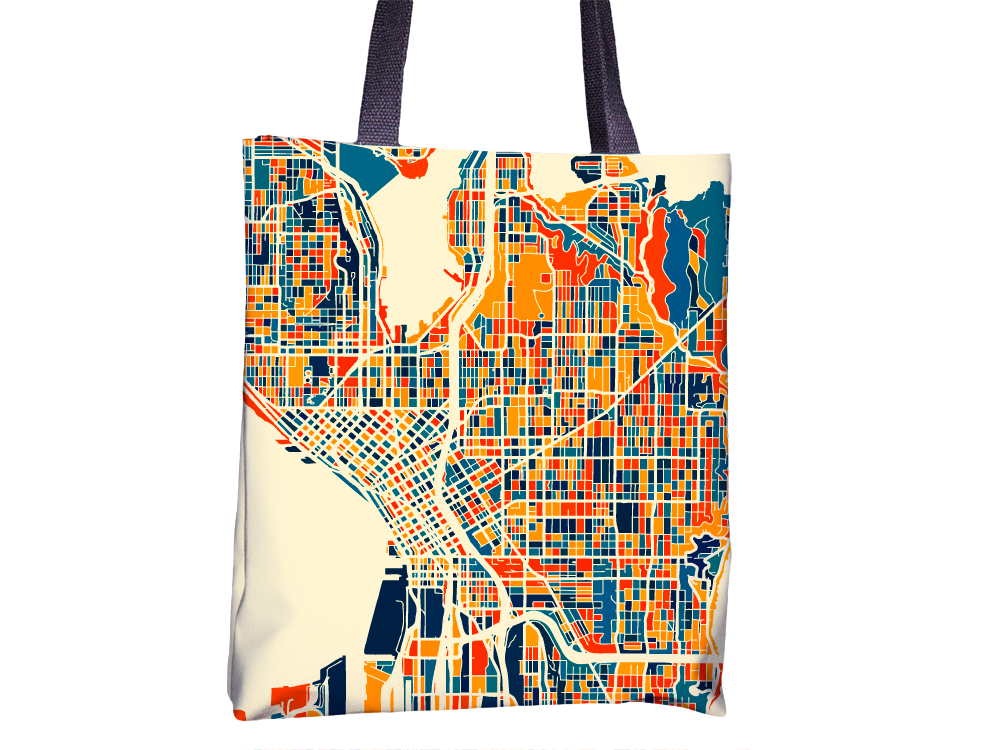 Seattle Map Tote Bag - Washington Map Tote Bag 15x15