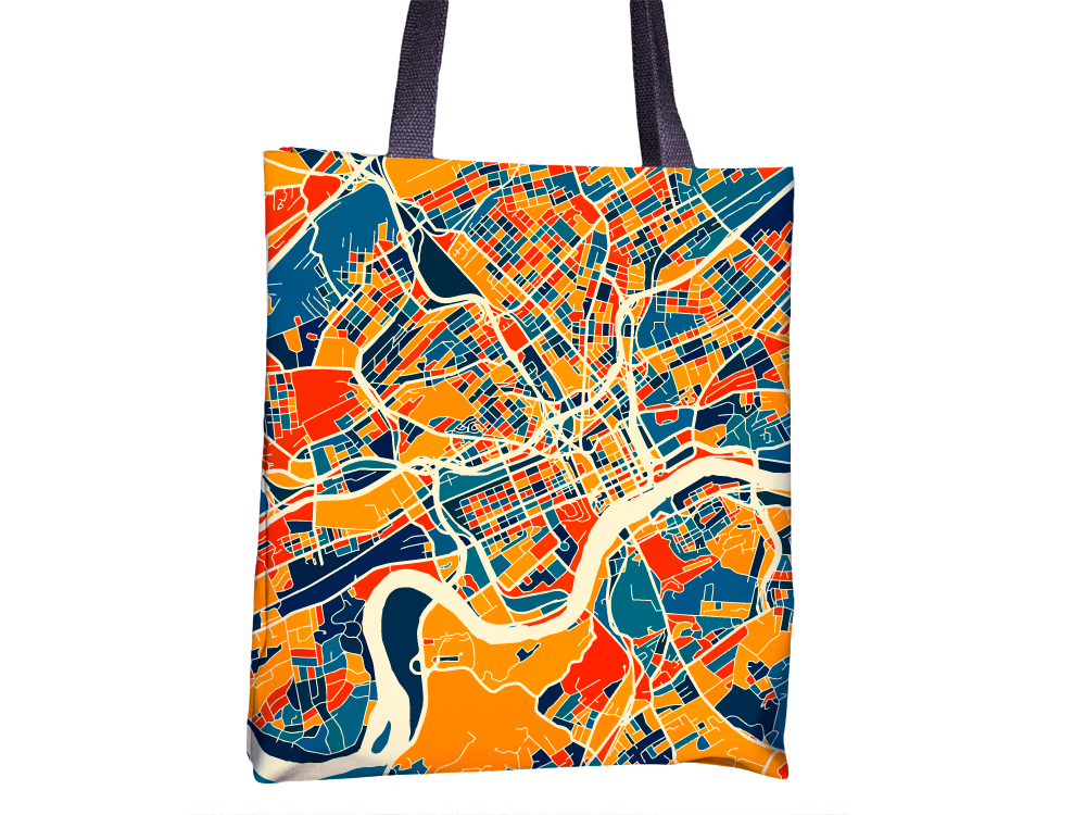 Knoxville Map Tote Bag - Tennessee Map Tote Bag 15x15