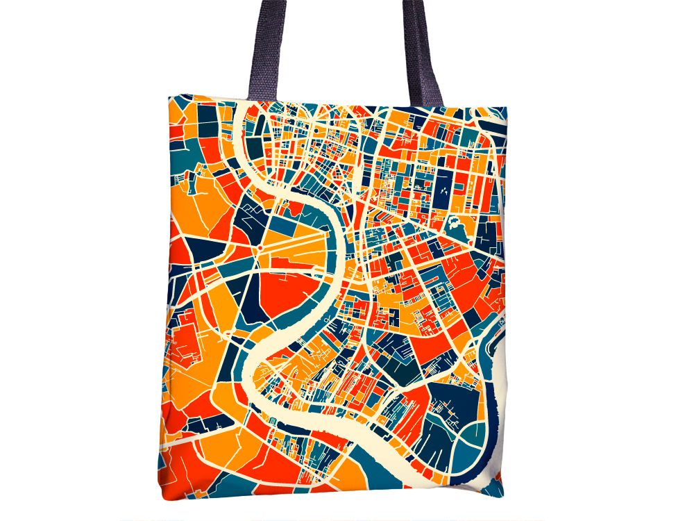 Bangkok Map Tote Bag - Thailand Map Tote Bag 15x15