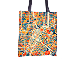 Houston Map Tote Bag - Texas Map Tote Bag 15x15