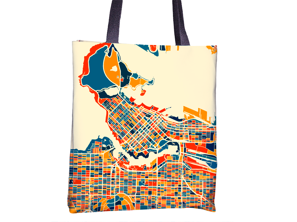 Vancouver Map Tote Bag - British Columbia Map Tote Bag 15x15