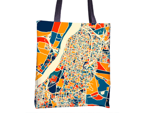 Kolkata Map Tote Bag - Calcutta Map Tote Bag 15x15