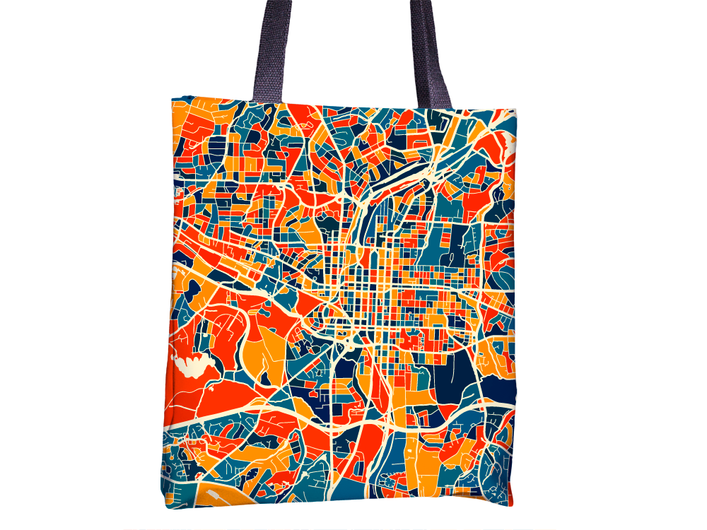 Raleigh Map Tote Bag - North Carolina Map Tote Bag 15x15