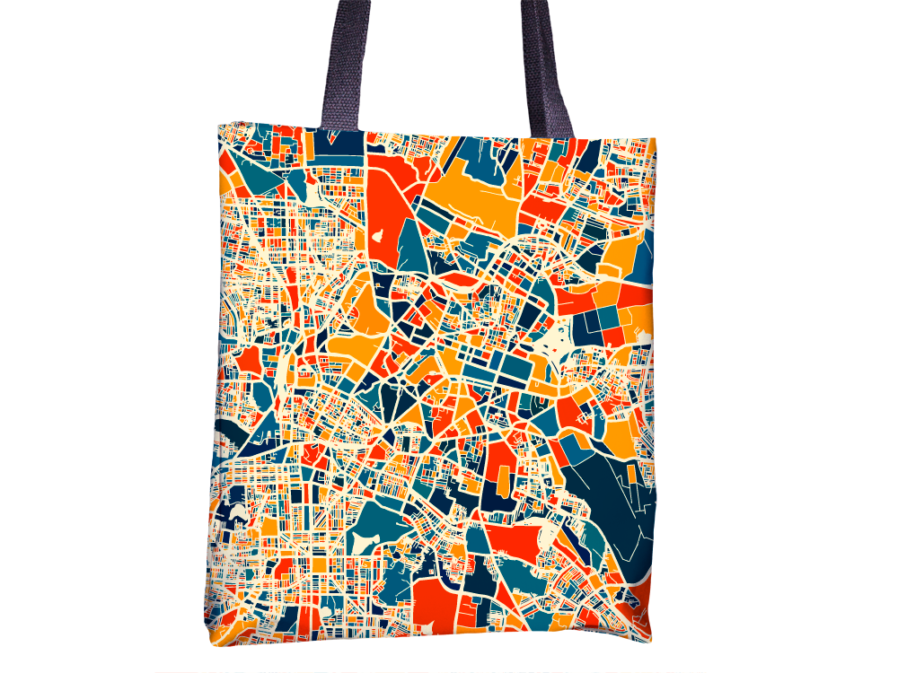 Bangalore Map Tote Bag - India Map Tote Bag 15x15