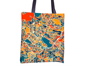 Amman Map Tote Bag - Jordan Map Tote Bag 15x15