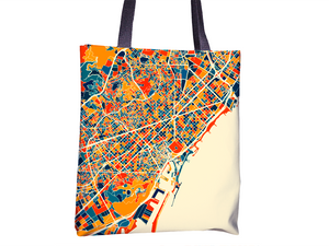 Barcelona Map Tote Bag - Spain Map Tote Bag 15x15