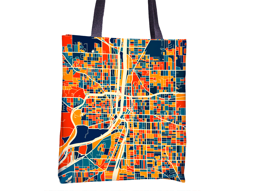 Grand Rapids Map Tote Bag - Michigan Map Tote Bag 15x15