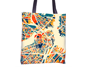 Boston Map Tote Bag - Massachusetts Map Tote Bag 15x15