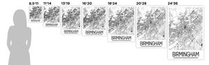 Birmingham AB Map Poster - usa Map Print - Art Deco Series