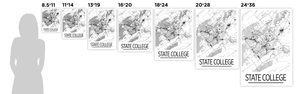 State College Map Poster - Pennsylvania Map Print - Art Deco Series