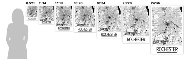 Rochester Map Poster - usa Map Print - Art Deco Series