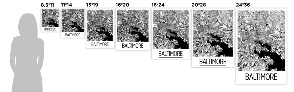 Baltimore Map Poster Usa Map Print Art Deco Series ILikeMaps - Baltimore usa map