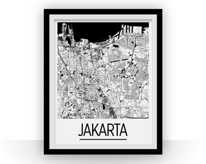 Jakarta Map Poster - indonesia Map Print - Art Deco Series