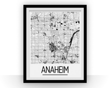 Anaheim Map Poster - usa Map Print - Art Deco Series