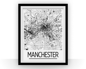 Manchester Map Poster - uk Map Print - Art Deco Series