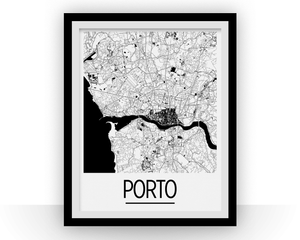 Porto Map Poster - Portugal Map Print - Art Deco Series