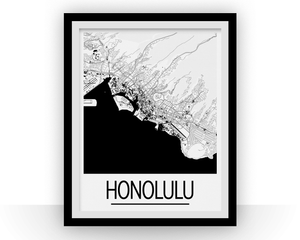 Honolulu Map Poster - usa Map Print - Art Deco Series