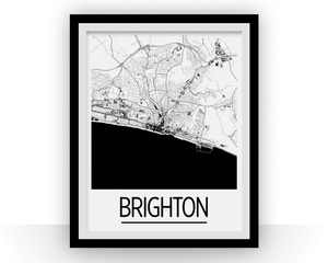 Brighton Map Poster - England Map Print - Art Deco Series