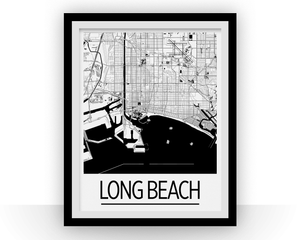 Long Beach Map Poster - usa Map Print - Art Deco Series