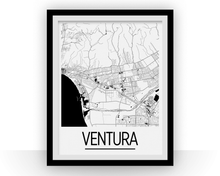 Ventura Map Poster - California Map Print - Art Deco Series