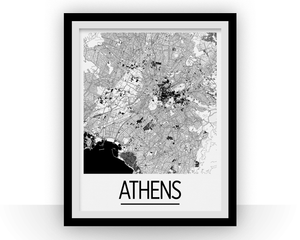 Athens Map Poster - greece Map Print - Art Deco Series