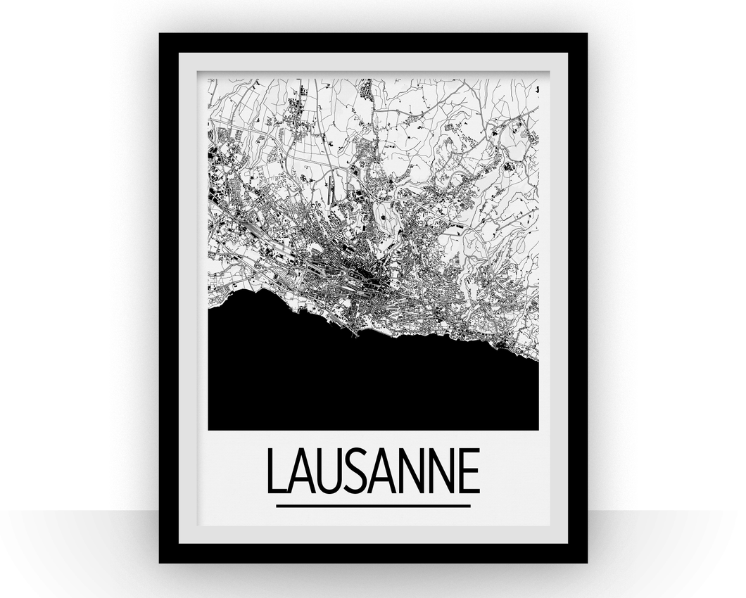 Lausanne Map Poster - Switzerland Map Print - Art Deco Series