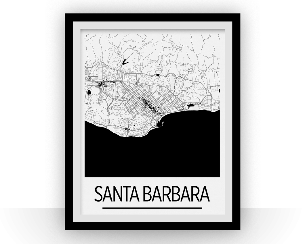Santa Barbara Map Poster - California Map Print - Art Deco Series