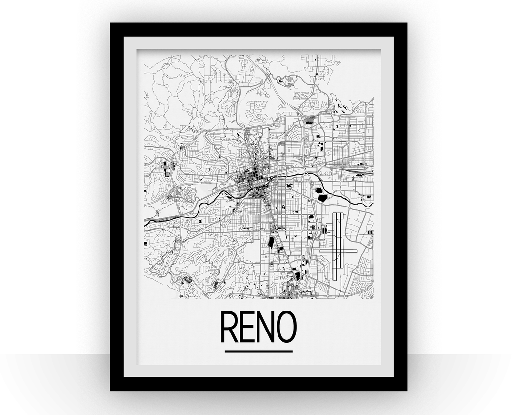 Reno Map Poster - Nevada Map Print - Art Deco Series