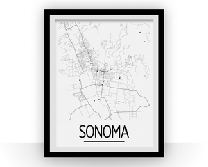 Sonoma Map Poster - California Map Print - Art Deco Series