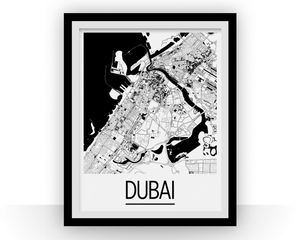 Dubai Map Poster - uae Map Print - Art Deco Series