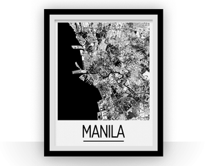 Manila Map Poster - philippines Map Print - Art Deco Series