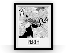 Perth Map Poster - Australia Map Print - Art Deco Series