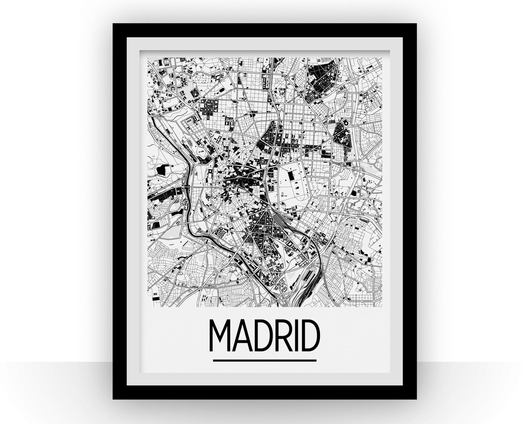 Madrid Map Poster - spain Map Print - Art Deco Series