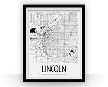 Lincoln Map Poster - usa Map Print - Art Deco Series