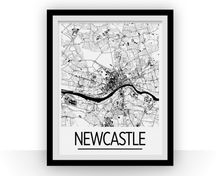 Newcastle Map Poster - England Map Print - Art Deco Series