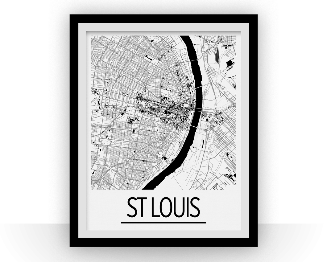 St Louis Map Poster - usa Map Print - Art Deco Series