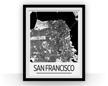 San Francisco Map Poster - usa Map Print - Art Deco Series