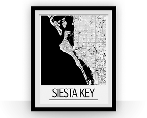 Siesta Key Map Poster Florida Map Print Art Deco Series Ilikemaps