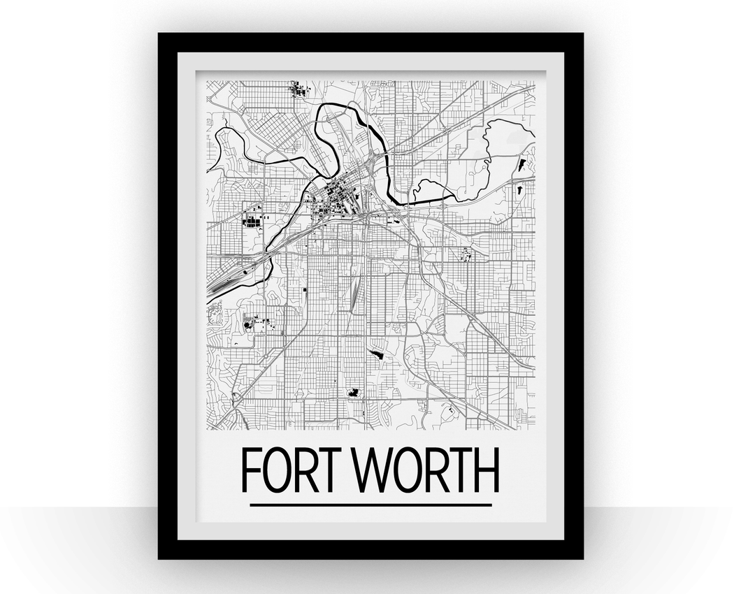 Fort Worth Map Poster - usa Map Print - Art Deco Series