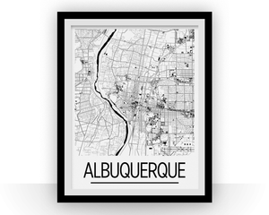 Albuquerque Map Poster - usa Map Print - Art Deco Series